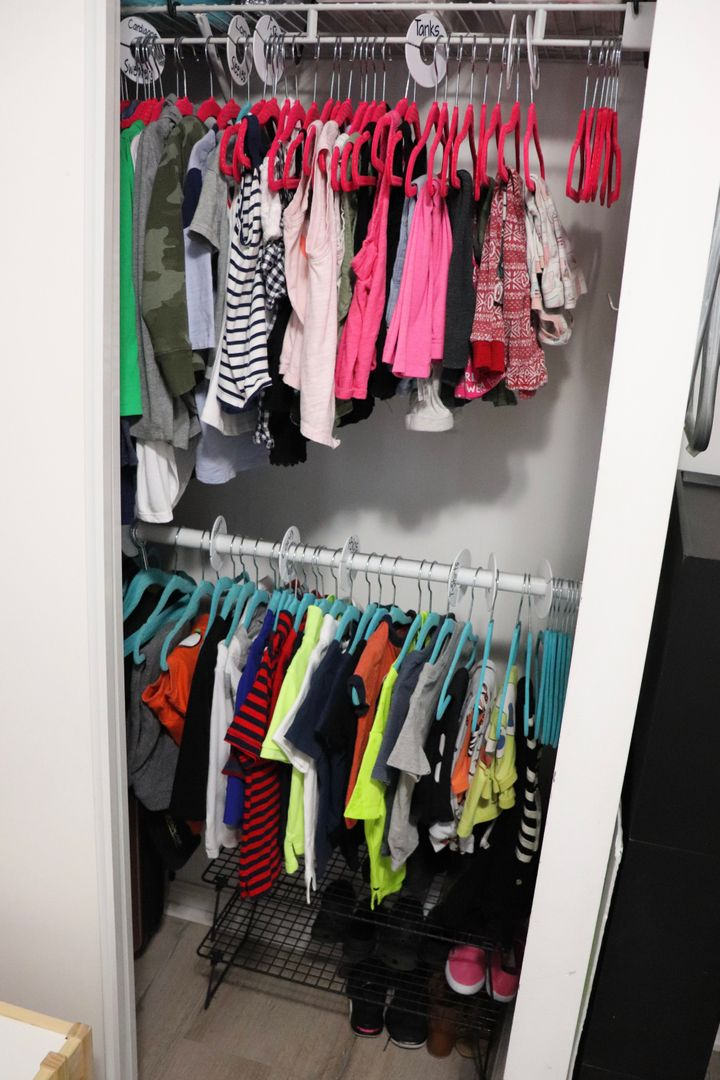 Clothing is organized to be easily mixed and matched.