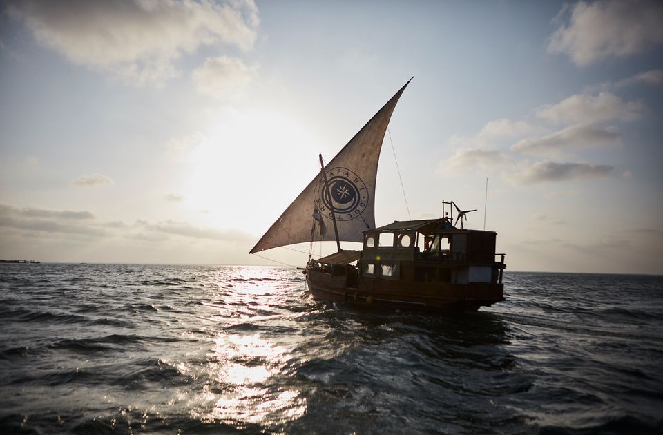On some trips, Safari Doctors travels by wooden dhow -- a traditional Indian Ocean ship with a triangle...