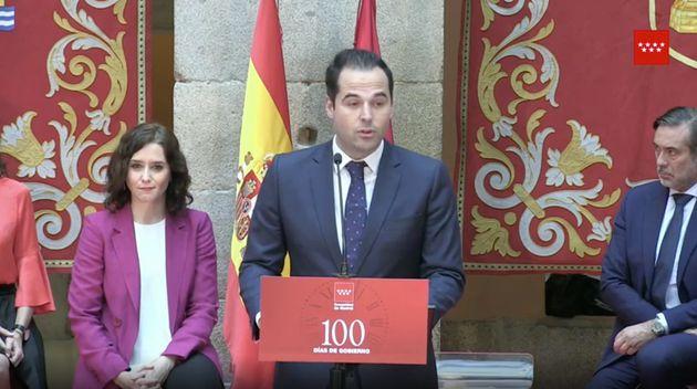 Isabel Díaz Ayuso e Ignacio Aguado durante el acto por los 100 días del Gobierno de la Comunidad de