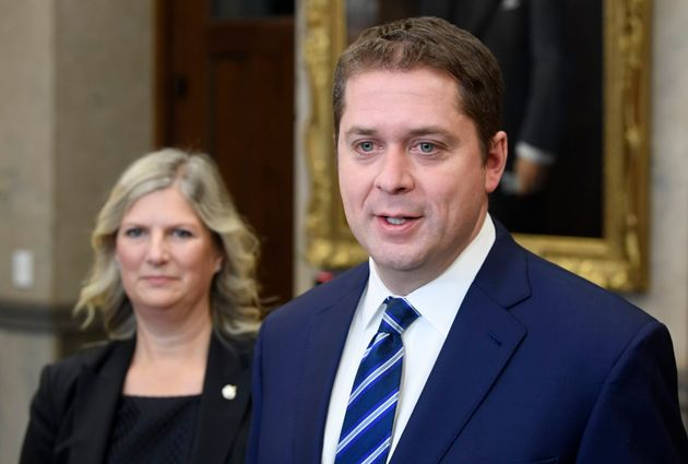 Conservative Leader Andrew Scheer speaks to the media with Leona Alleslev, the party's new deputy leader,...