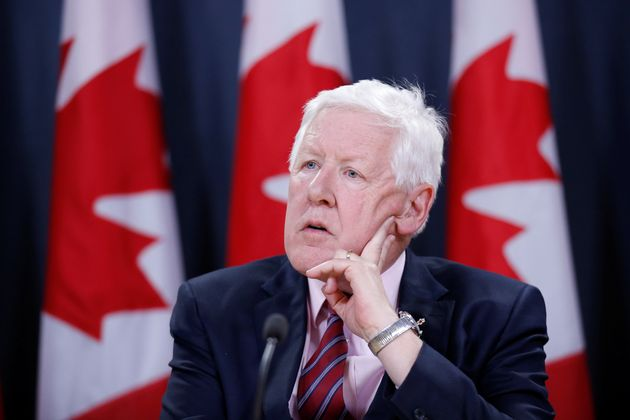 Canada's Special Envoy to Myanmar Bob Rae takes part in a news conference in Ottawa on April 3,