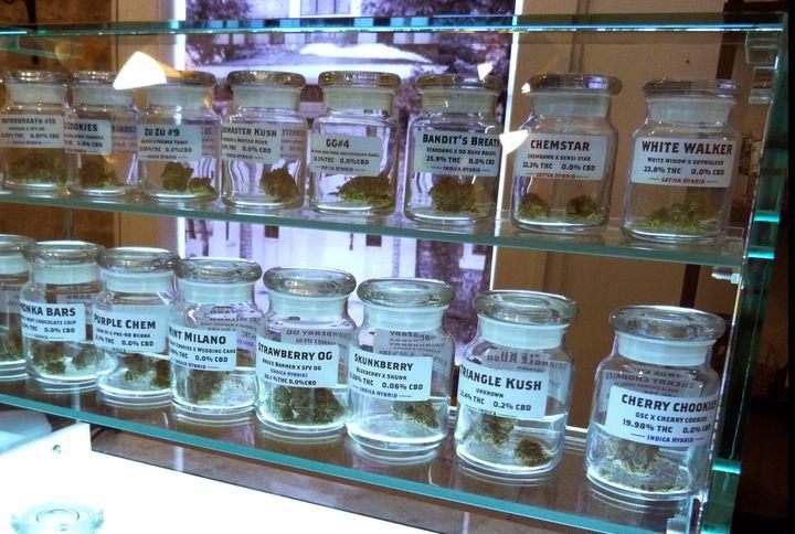 This Nov. 25, 2019 photo shows marijuana on display at Arbors Wellness in the medical marijuana shop in Ann Arbor, Mich.&nbsp
