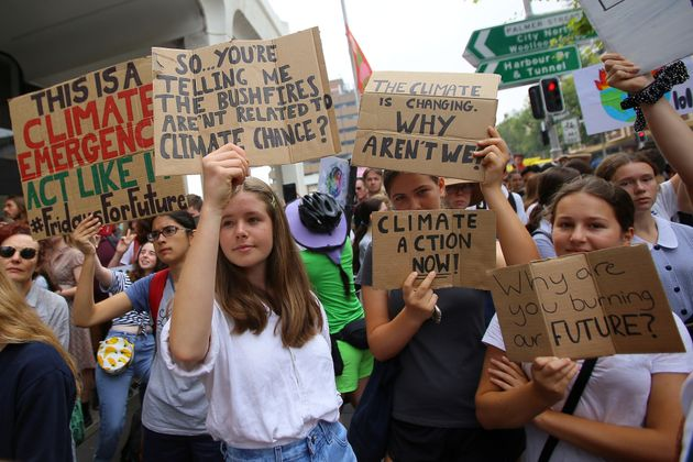 Student activists from School Strike for Climate Australia (SS4C) hold a 'Solidarity Sit-down' outside...