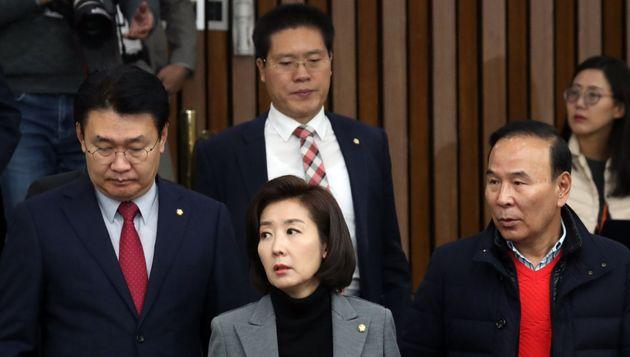 나경원 자유한국당 원내대표가 29일 서울 여의도 국회에서 열린 원내대책회의에 참석하고