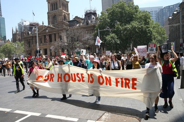 Students and protestors march through the streets of the Sydney