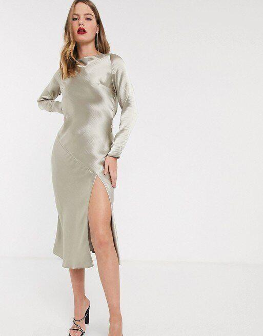 ASOS DESIGN Long Sleeve Cowl Back Midi Dress, ASOS