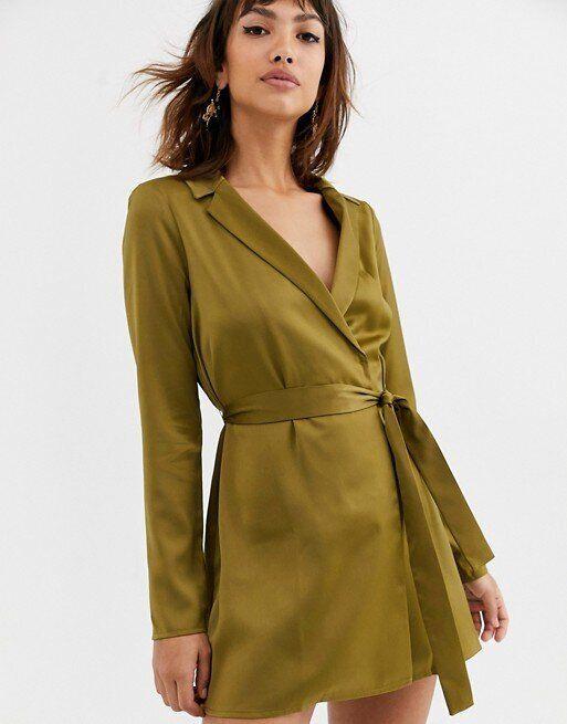 ASOS DESIGN Satin Tux Mini Dress With Self Belt, ASOS