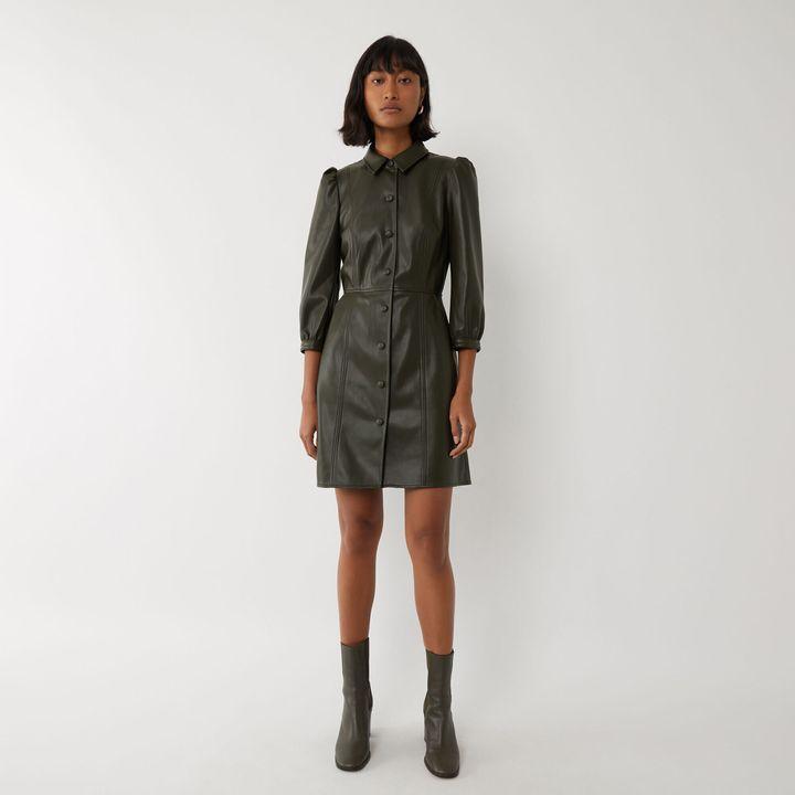 Faux Leather Mini Shirt Dress, Warehouse