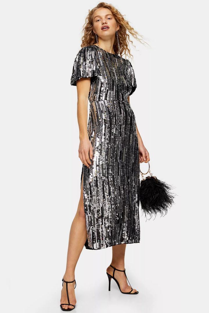 Premium Silver Puff Sleeve Sequin Midi Dress, Topshop