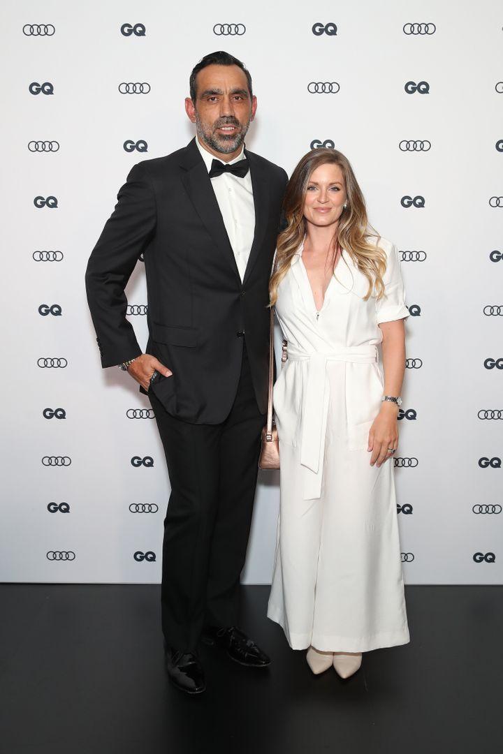 Adam Goodes and wife Natalie Crocker