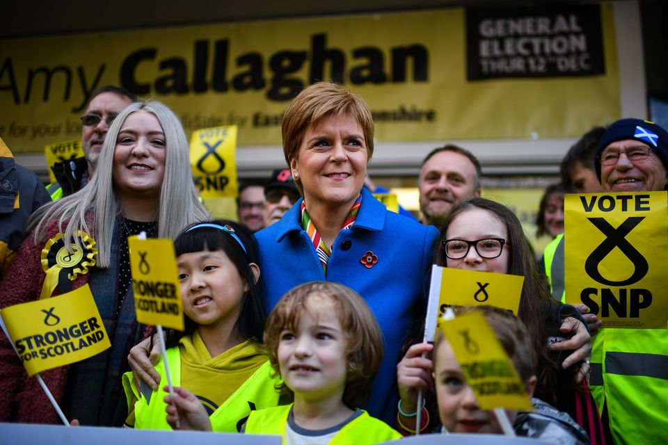Nicola Sturgeon campaigns with SNP candidate for East Dunbartonshire, Amy Callaghan, and young activists,...