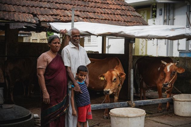 Chitharesh's parents and nephew with the cows in their backyard.