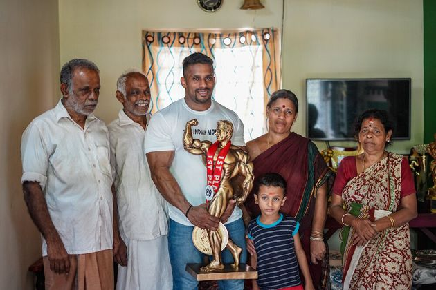 Chitharesh with his family members.