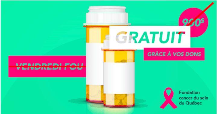 Le coût des médicaments pour les femmes atteintes d'un cancer du sein métastatique (donc incurable) est très élevé, rappelle cette campagne de la Fondation du cancer du sein du Québec.