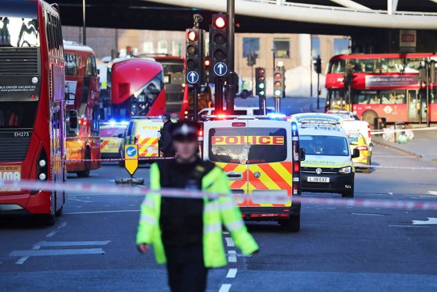 Police and emergency services respond to an incident on London Bridge in central London on