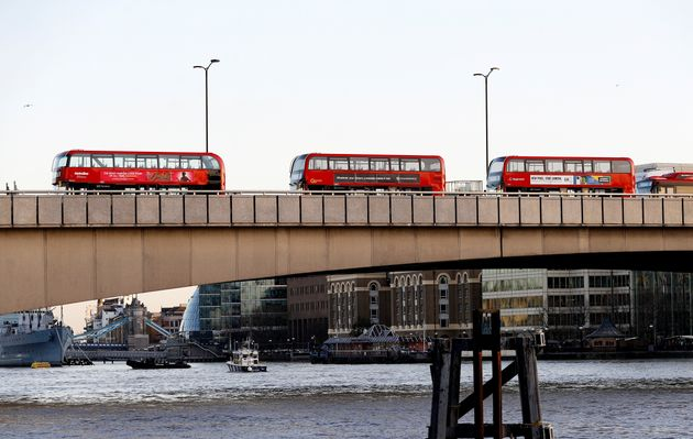 Empty buses are pictured at London Bridge after a stabbing incident, in London, Britain, November 29,...