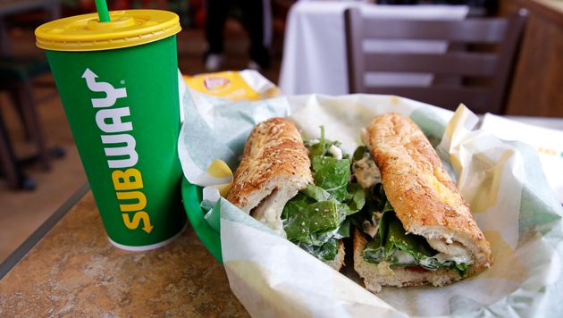 In this file photo, the Subway logo is seen on a soft drink cup in Londonderry, N.H., Fri. Feb. 23,