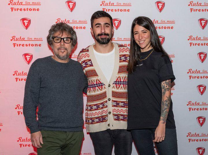 Rayden junto a Bely Basarte e Iván Ferreiro, los otros dos cantantes del concierto de cierre de la Ruta Firestone 2019.
