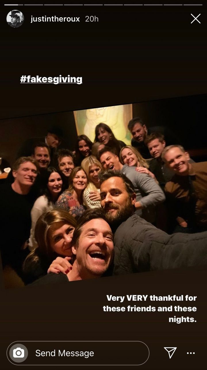 Justin Theroux attends Jennifer Aniston's Friendsgiving.