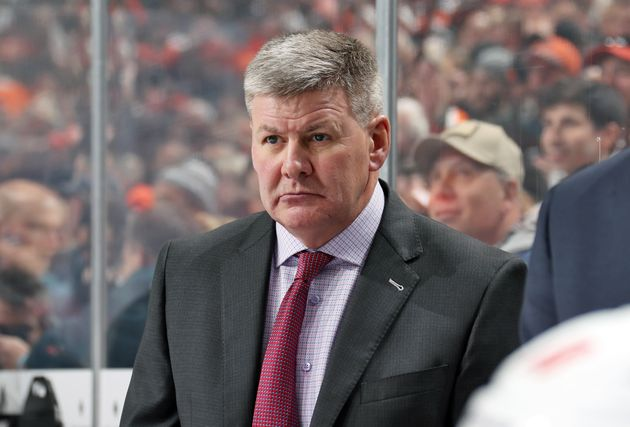 Former Calgary Flames head coach Bill Peters is seen here in Philadelphia during a game against the flyers...