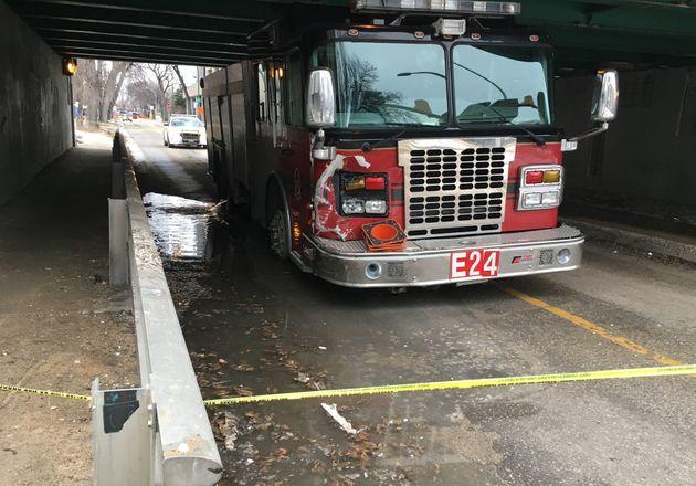 A fire truck is stuck under a bridge after being stolen in Winnipeg on