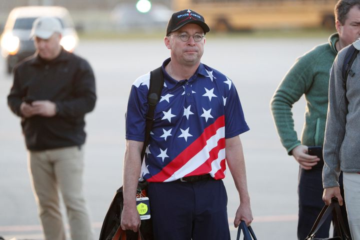 Acting White House Chief of Staff Mick Mulvaney was photographed descending from Air Force One at Palm Beach International Ai