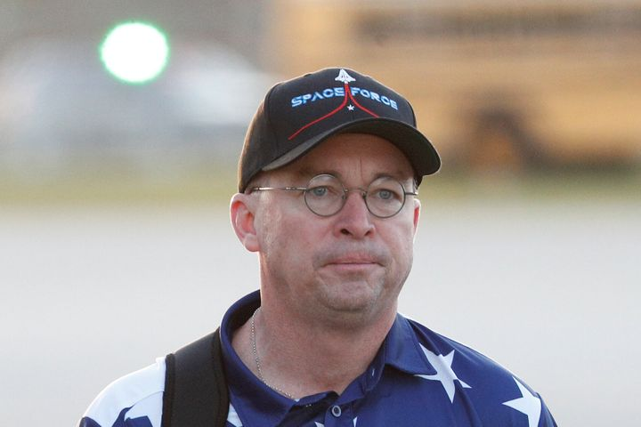 "Mulvaney was wearing a stars and stripes shirt and a hat emblazoned with the words ""Space Force."""