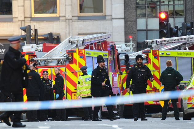 Emergency services on the scene of the incident at London Bridge on Friday