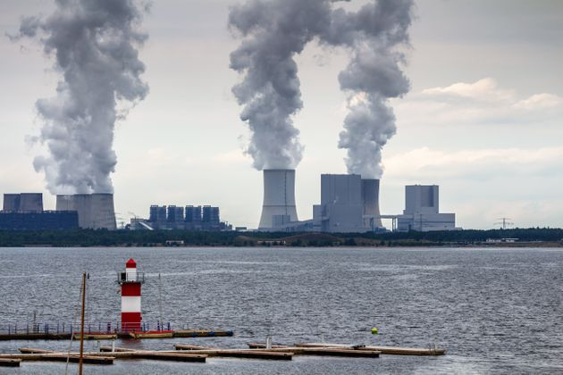 Nuclear power plant on the coast. Ecology disaster