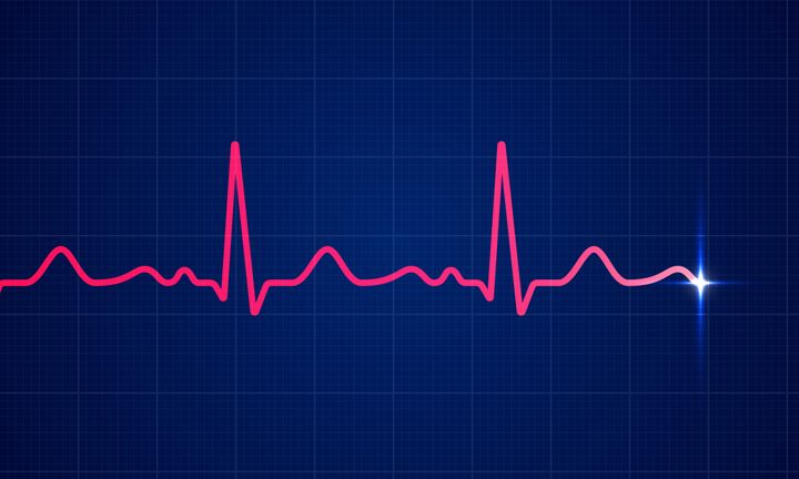 Red heart beat pulse electrocardiogram rhythm on blue cardio chart monitor background. Vector healthcare ECG or EKG medical life concept for cardiology or medical resuscitation illustration