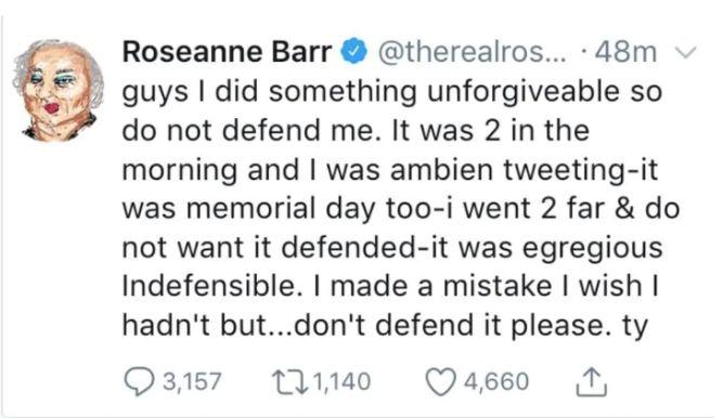 Roseanne Barr's Ambien tweet.