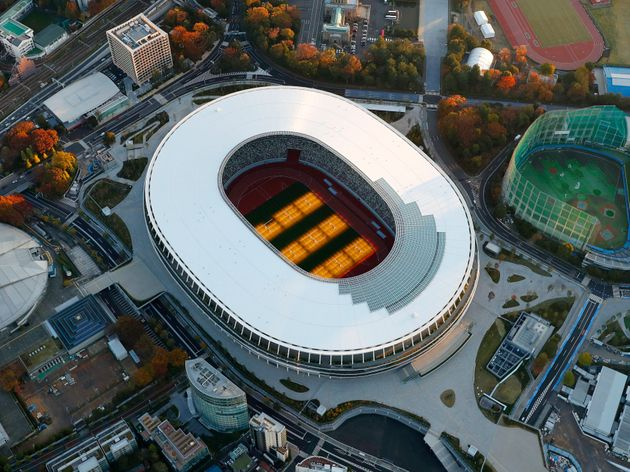 The new National Stadium, main stadium for the 2020 Tokyo Olympics and Paralympics, is seen after its...