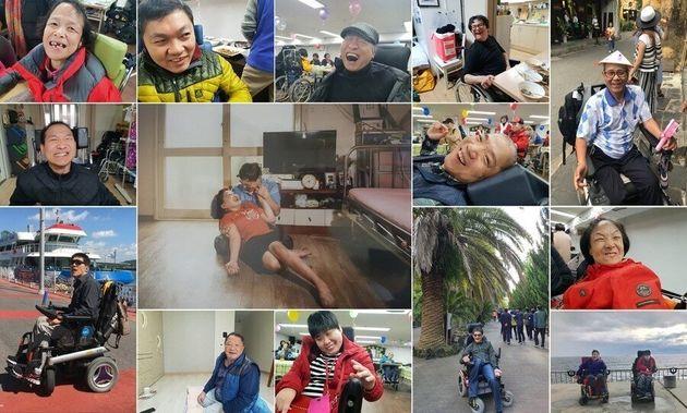 '탈시설 장애인, 자립리포트'를 쓰며 가 만난 자립장애인들이 자유로운 일상을 누리며 환히 웃는 사진들을 보내왔다. 당사자