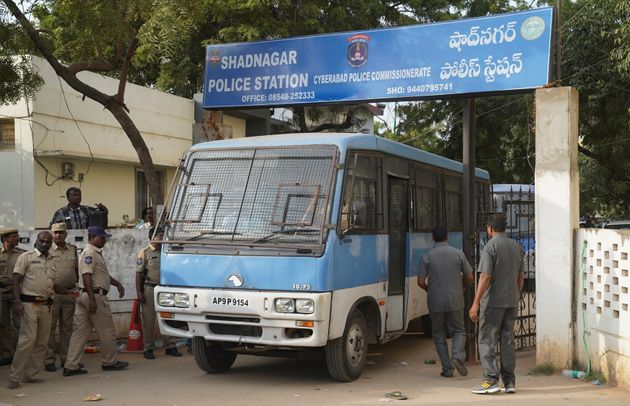 A police van carrying four men accused of the alleged rape and murder of a 27-year-old woman, leaves...