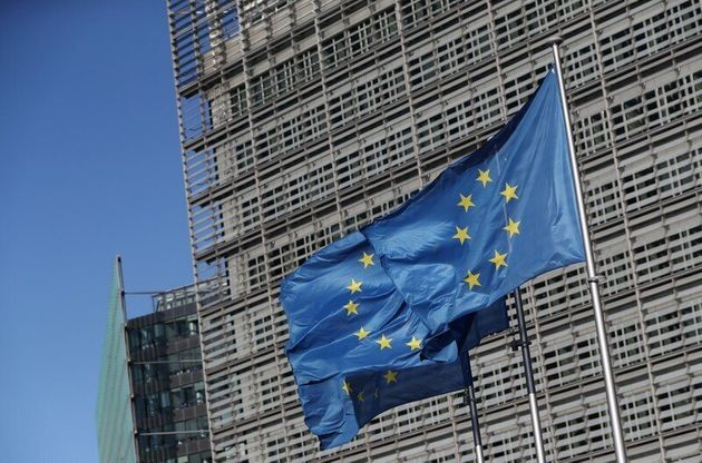 FILE PHOTO: European Flags flutter outside the European Commission's headquarters ahead of the European...
