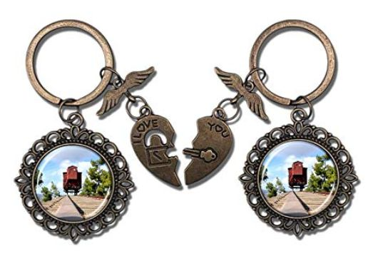 Valentine's Day key chains featuring a photo of a train car that deported Jews for extermination...