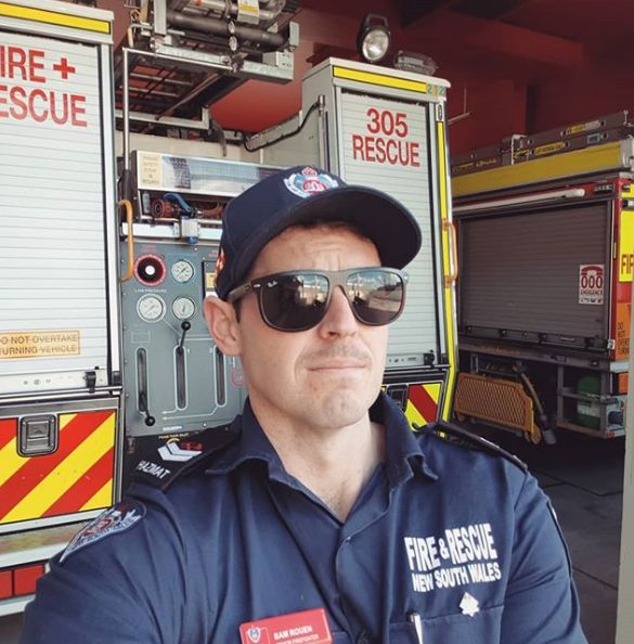 """After helping put out some of the blazing fires on Sydney's north shore last month, Sam Rouen has been working in a capacity that he said is """"a slightly different role to the majority of firefighters""""."""