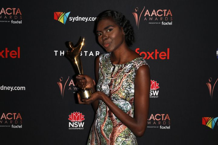 Magnolia Maymuru poses with AACTA Award for Best Supporting Actress in the media room during the 2019 AACTA Awards Presented by Foxtel | Industry Luncheon.