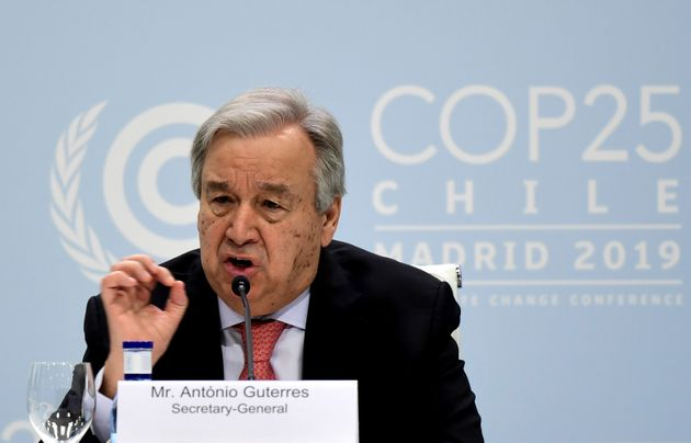 United Nations Secretary-General Antonio Guterres gives a press conference, at the 'IFEMA - Feria de...