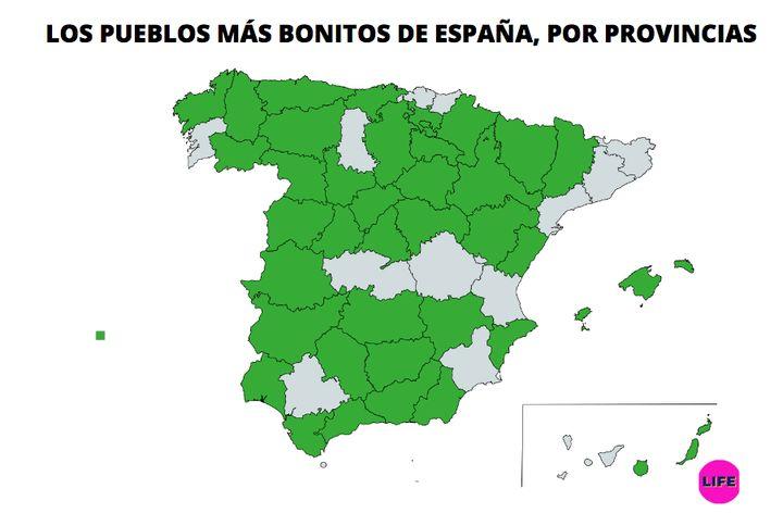 Mapa de los pueblos más bonitos de España, por provincias.