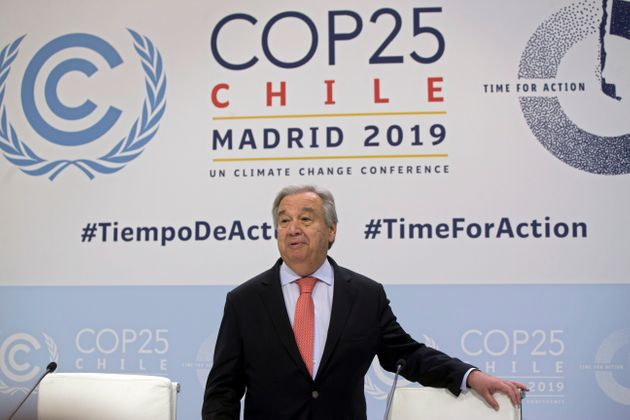UN Secretary-General Antonio Guterres arrives for a news conference at the COP25 summit in Madrid, Spain,...