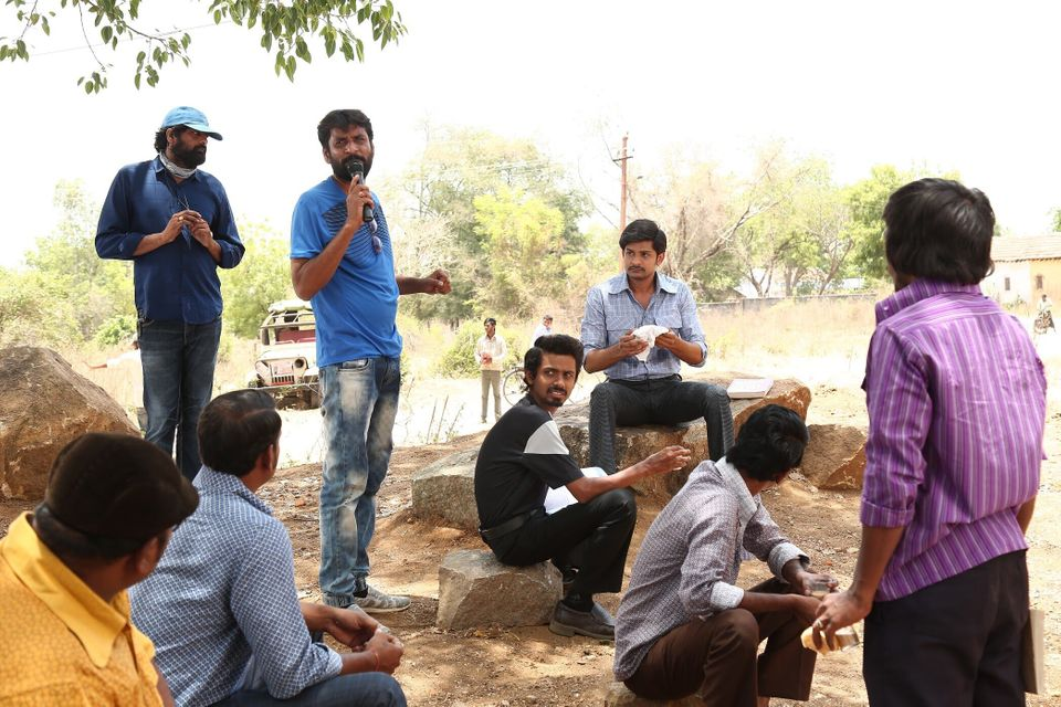 Director Jeevan Reddy on the sets of the