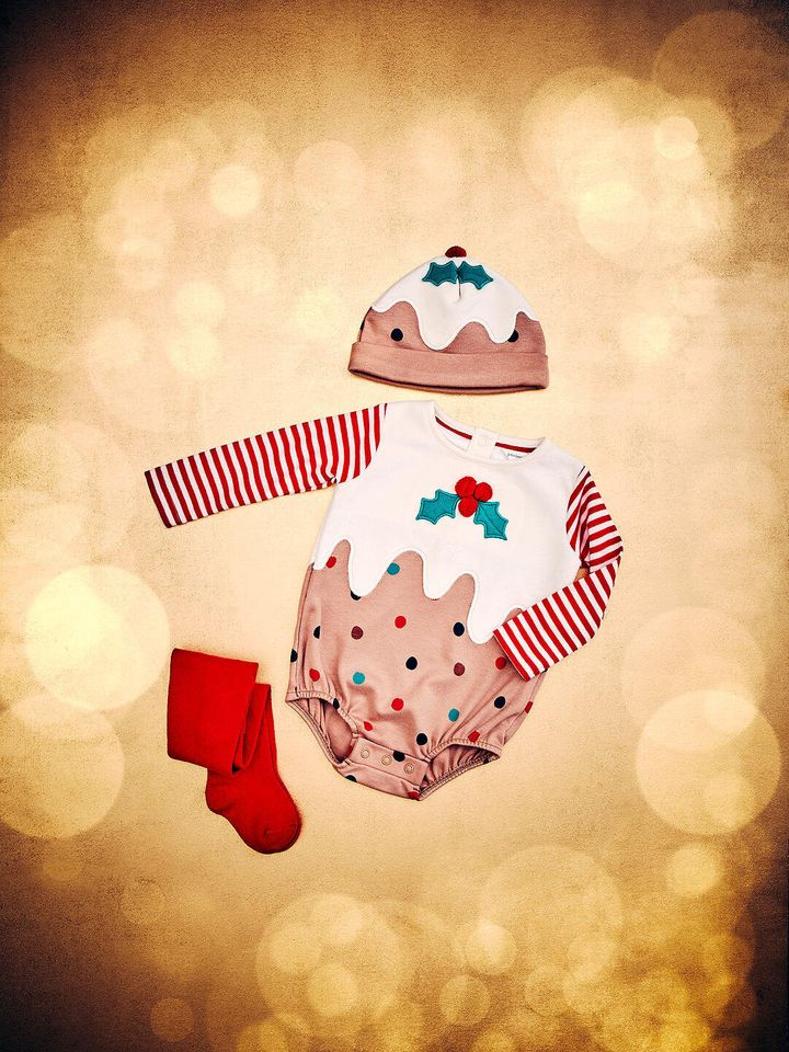 Baby GOTS Organic Cotton Christmas Pudding Romper and Hat Set