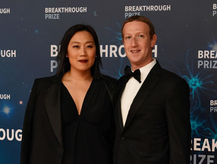 Mark Zuckerberg and his wife, Priscilla Chan, attend the Breakthrough Prize awards in Mountain View, California, in November.