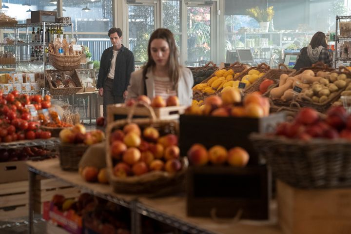 """Penn Badgley and Victoria Pedretti in the second season of """"You."""""""