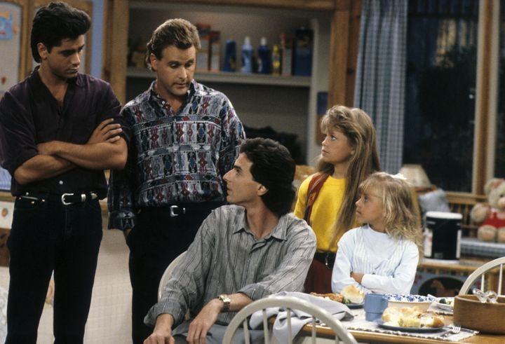 """""""Full House"""" aired from 1987 to 1995. The cast included (from left to right) John Stamos,Dave Coulier, Bob Saget, Canda"""