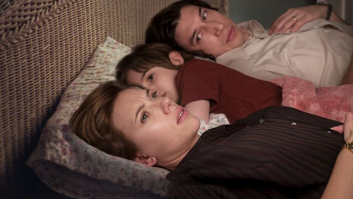 "Scarlett Johansson, Azhy Robertson and Adam Driver in ""Marriage Story."""