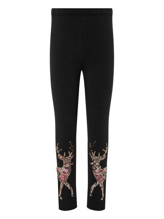 Girls Halle Reindeer Sequin Leggings