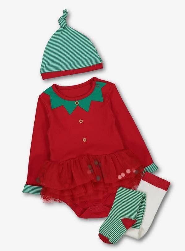 Christmas Elf Red Tutu Bodysuit Set