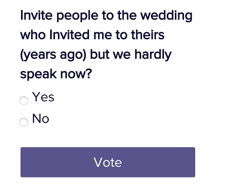 A question strangers are currently voting on on the website.